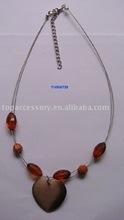 2012 white and orange mixed clay shamballa pendant necklace
