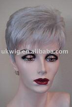 Silver gray human hair wig