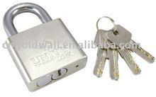 brass padlock with flat key