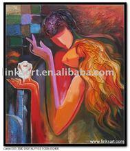 Abstract Pop Art Couple Handmade Oil Painting on Canvas