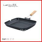 die-cast aluminum non-stick grill pan with folding bakelite handle