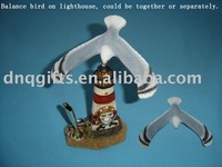 Balance seagull souvenir resin lighthouse with penholder