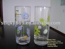 High Quality Flowers Imprinting Logo Glass Tumblers