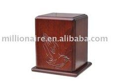 solid mahogany wooden cremation urn