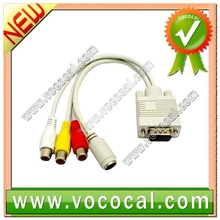 PC Computer VGA to TV S-Video RCA AV 3 Adapter Cable