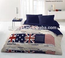100% cotton uk design bedding set /duvet cover 4pcs set