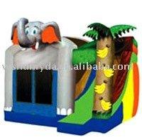 Combo Inflatable elephant bouncy house side