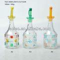 150ml a mano- pintado o aceite de vidrio claro vinagreras botella con tapa de pp