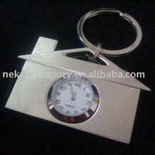 clock house shaped metal key chain