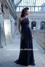 one-shoulder chiffon long bridesmaid dresses 2012