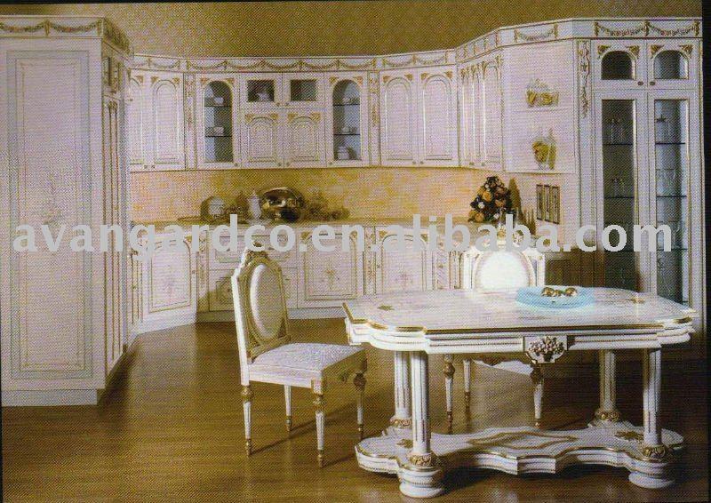 Antico stile classicoin legno armadio da cucina, colore bianco