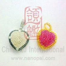 Rhinestone Inlaid Heart shape usb flash, crystal heart flash memory disk, diamond pendant usb flash