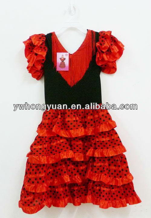 Las niñas vestidos de flamenco, vestidos de baile español