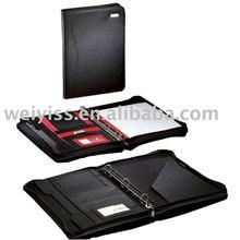 Leather Portfolio/ Agenda/ Notebook/ Organizer 3 Ring Binder with Writing Pad and Zipper