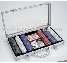300pc Poker Chip Set In Silver Aluminum Case