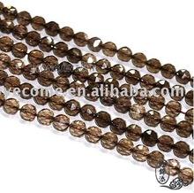 10-12mm Natural Rock Smoky Quartz Crystal Round Beads 128 Facet