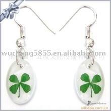 2015 four leaf clover plastic earrings,ear pendant .fashion natural earring