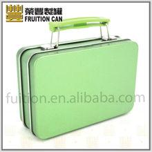 Mini Suit Case Metal Tin Box with Plastic Handle