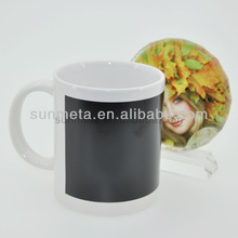 white mug with black patch for color change -yiwu factory
