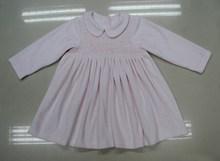 100% cotton velvet Winter baby pink Smocked Cotton Girl's Dress