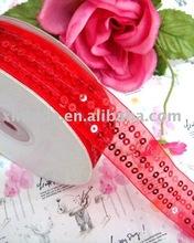 Sewn Sequins Organza ribbon,sheer organza ribbon,