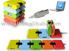 5 Color Foldable 4 Ports USB Hub 2.0