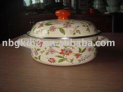 porcelain enamel cookware with metal lid