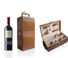 Luxury leather two bottles portable wine gift box with wine opener