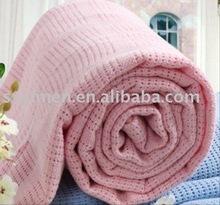 100% cotton warm color cellular blanket/ Thermal hospital blanket