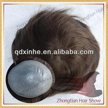 Full PU Injection Human Hair toupee