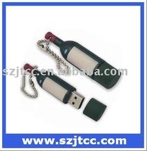 Red Wine Bottle Shape USB Gift Set Wine Bottle USB PVC Keychain Bottle Shaped USB