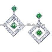 Fashion girl elegant earring , 925 silver dangle earring . silver earring wth green zircon