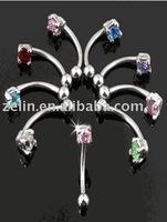 2014 new design zircon eyebrow rings stainless steel body jewelry