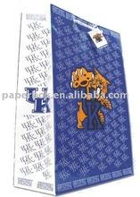 dark blue dot christmas print paper bag with tag