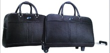 High qualtiy black leather tolley luggage with handle