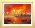Venta al por mayor en línea de la tienda, de la mano- pintado impresionista abstracta puesta de sol del paisaje marino pintura de la lona, decorativo de la pared de las artes