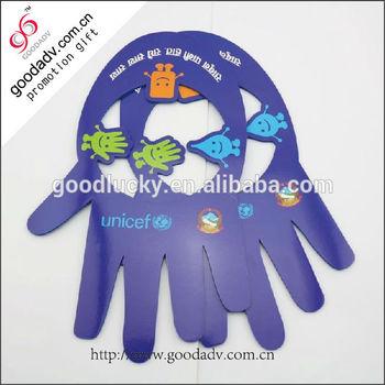 2014 hot sale purple hand shaped eva foam sun visor caps & hats