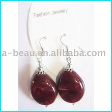 fashion blood red resin pendant earring