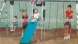 Comfortable garden swing combined slide