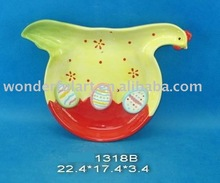 decorative chicken shaped ceramic plate