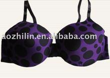 Fashion Purple Dots Printing Plus size Bra Lingerie