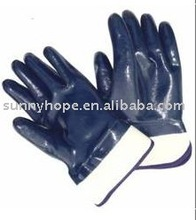 Heavy duty safety cuff blue color nitrile safety gloves