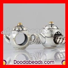 european teapot gold plated silver beads