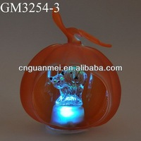 Wholesale glass Halloween orange led pumpkin with animal