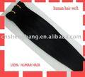 100% del pelo humano de la trama / el tejer del pelo negro color, Fábrica en venta