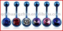 Anodized titanium belly ring body jewelry piercing