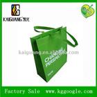 Recycle durable Green color non woven shopping bags