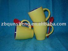 diverse shape beautiful ceramic mug/cup with spoon