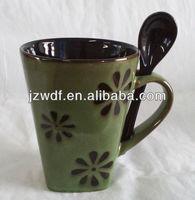 Factory direct 11oz square ceramic mug with spoon