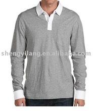 OEM fashion Men's cotton jersey fabric long sleeves polo t shirt